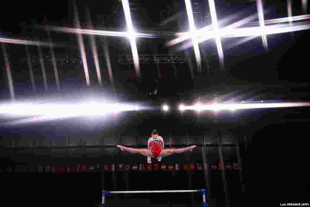 Russia's Anastasiia Iliankova competes in the artistic gymnastics women's uneven bars final of the Tokyo 2020 Olympic Games at the Ariake Gymnastics Centre in Tokyo on August 1, 2021.