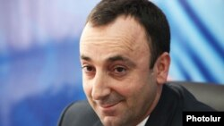 Armenia -- Minister of Justice Hrayr Tovmasian at a press conference in Yerevan, 25Jan2012.