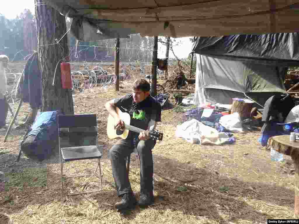 Экологический лагерь в Цаговском лесу в Жуковском отделен от просеки колючкой