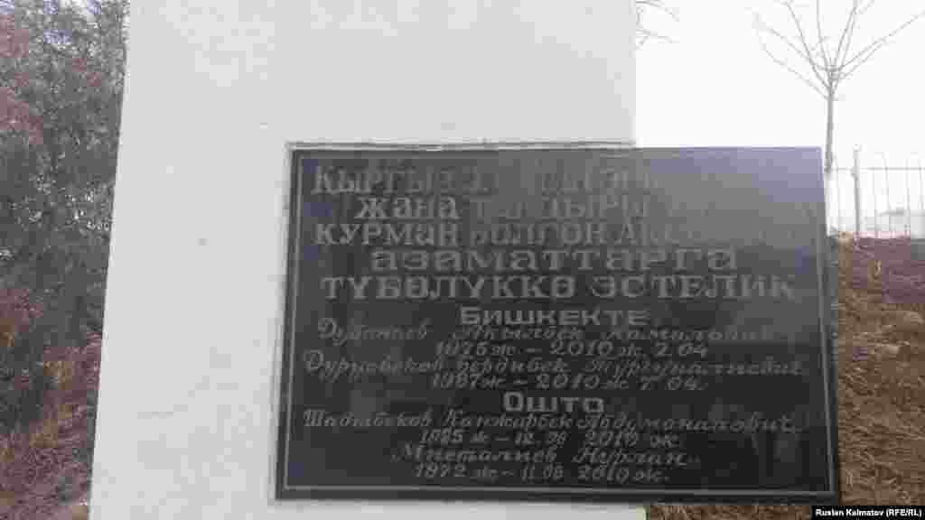 Қырғызстанда 2010 жылғы сәуірде Бішкекте және маусым айында Ошта болған оқиғалар кезінде қаза тапқан азаматтарға қойылған ескерткіш белгі