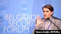 Ana Brnabić na Beogradskom bezbednosnom forumu, 12. oktobar 2017.