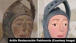 Статуя Св. Георгия до и после реставрации