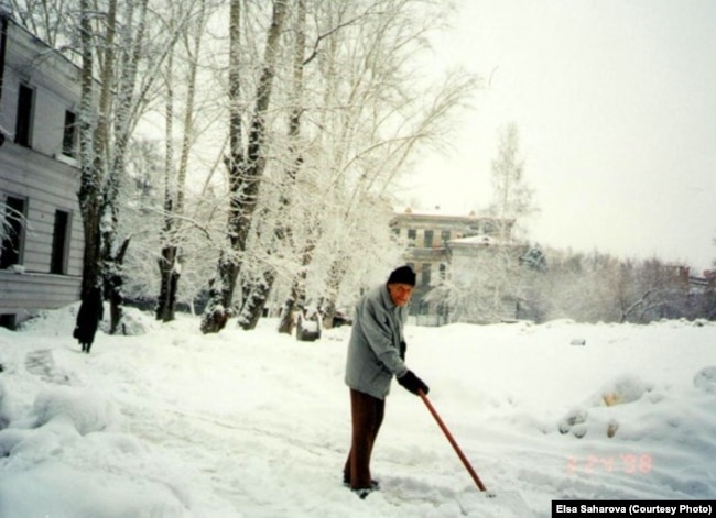 Профессор Армин Стромберг убирает снег возле своего дома