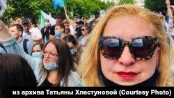 Татьяна Хлестунова на шествии в поддержку Сергея Фургала, Хабаровск (архивное фото)