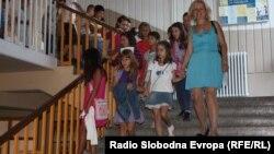 Илустрација: Првиот школски ден во ОУ Владо Тасевски во Скопје.