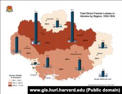 Втрати в Україні по регіонах, 1932-1934 роки (мапа: www.gis.huri.harvard.edu)