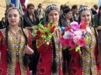 Turkmen women in traditional dress at a festival in Ashgabat