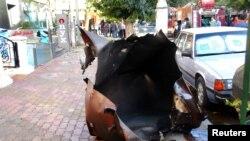 Место взрыва снаряда в центре Дамаска