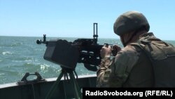 A Ukrainian boat on patrol amid high tension in the Sea of Azov