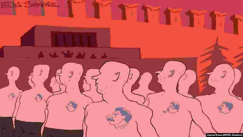 Карикатура російського художника Сергія Йолкіка щодо вшанування в Росії постаті Йосипа Сталіна, могила якого розташована біля стіни Кремля у Москві. НА ЦЮ Ж ТЕМУ