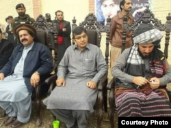 PTM leaders Ali Wazir (L), Mohsin Dawar and Manzoor Pashteen in Mir Ali, North Waziristan on March 2.