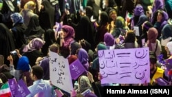 Rouhani female supporters in an election rally on May 9, 2017. Gender equality was stressed by women as one of their important demands during election rallies.