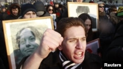 Адвокат Станислав Маркелов пен журналист Анастасия Бабурованы еске алу шарасы. Мәскеу, 19 қаңтар 2013 жыл.