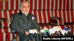 National Coalition leader Abdullah Abdullah at a press conference in Kabul in January