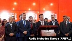 Премиерот Зоран Заев на прес-конференција во Влада, дава отчет за сработеното во првите 100 дена на власт.