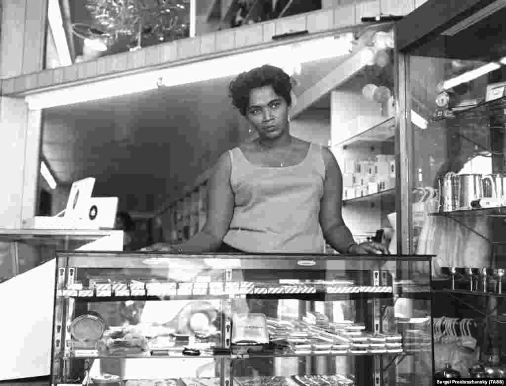 A shopkeeper on St. Thomas Island, in the U.S. Virgin Islands, in 1967.