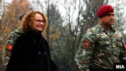 "Minister of defense Radmila Shekerinska with macedonian army unit ""Wolves"""