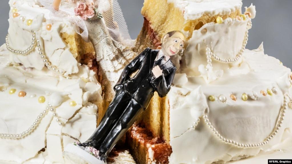 Владимир Путин и свадебный торт (коллаж)