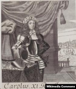 Карл XI. Неизвестный художник. В 1666 году королю Швеции было 11 лет