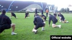 Македонскиот фудбалски шампион Вардар го одржува последниот тренинг на стадионот во Минск во пресрет на мечот со фудбалскиот клуб БАТЕ Борисов.