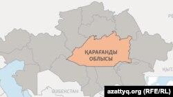 Қарағанды облысының картадағы орны (Көрнекі сурет).