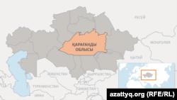 Қазақстан картасындағы Қарағанды облысы.