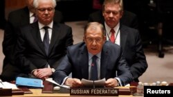"""Russian Foreign Minister Sergei Lavrov says the UN Security Council has become a tool to """"rubber stamp"""" decisions by Western countries."""