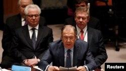 Министр иностранных дел Сергей Лавров на встрече Совета Безопасности ООН. Нью-Йорк, 23 февраля 2015 года.
