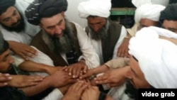 RFE/RL's correspondent in Peshawar, Pakistan has obtained video footage that purportedly shows a group of Taliban commanders pledging loyalty to the newly named Afghan Taliban leader, Mullah Haibatullah Akhundzada.