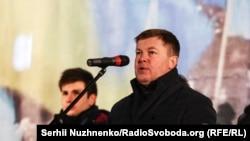 Юлій Мамчур під час акції з нагоди Дня кримського опору 26 лютого 2018 року на майдані Незалежності в Києві