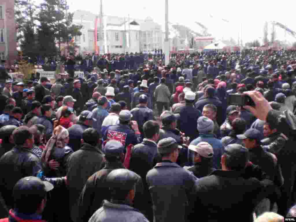 There were also protests in other Kyrgyz cities, including this gathering in Naryn.