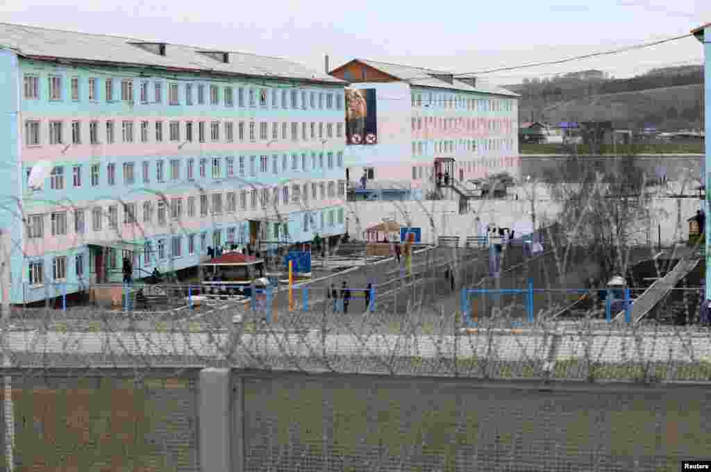 A general view shows one of the sectors of a high-security male prison camp outside Russia's Siberian city of Krasnoyarsk