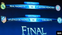 Switzerland -- The match fixtures are shown on an electronic panel following the draw of the semi-finals of UEFA Champions League 2013/14 at the UEFA Headquarters in Nyon, April 11, 2014