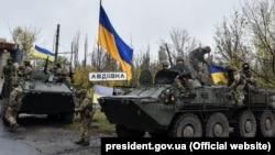 Украинские военные у Авдеевки, 22 октября 2017