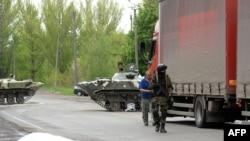 La un punct de control în apropiere de Slaviansk în estul Ucrainei.