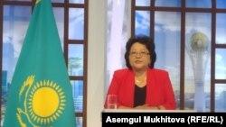 Динагүл Баешева, қазақстандық инфекционист, Нұр-Сұлтандағы брифингте сөйлеп тұр. 31 қаңтар 2020 жыл.