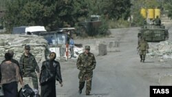 A Russian checkpoint at Georgian-South Ossetian border on October 9