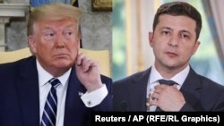Three congressional committees are investigating U.S. President Donald Trump (left) in an impeachment probe related to phone call he had with Ukrainian President Volodymyr Zelenskiy (right).