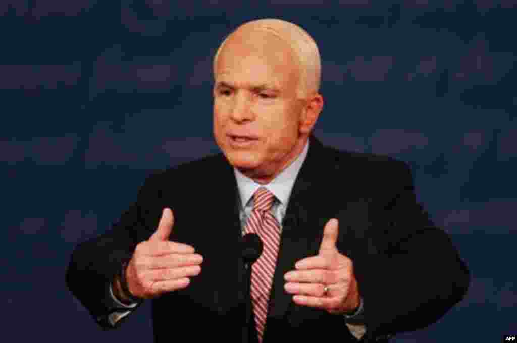 "McCain responded by saying Obama's foreign policy was ""naive"" and that it was ""dangerous"" to ""sit down across the table from someone [Iran] who has called Israel a 'stinking corpse,' and wants to destroy that country and wipe it off the map."""