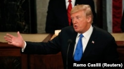 Donald Trump în timpul discursului asupra stării națiunii, 30 ianuarie 2017.