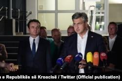 Kryeministri i Kosovës Albin Kurti dhe ai i Kroacisë Andrej Plenkoviq, më 25 korrik.