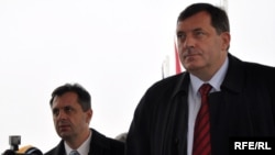 Milorad Dodik (right), prime minister of Republika Srpska, the predominantly Serb region of Bosnia-Herzegovina, arrives for a meeting with EU and U.S. officials near Sarajevo in October.