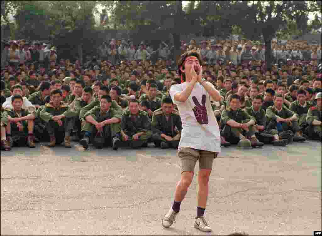 A student tells soldiers to leave on June 3, shortly before the crackdown.