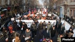 Armenia - Armenians demonstrate against controversial pension reform, Yerevan, 18Jan2014.
