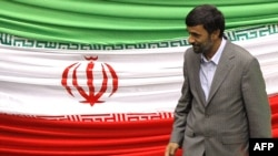 President Mahmud Ahmadinejad leaves the podium after taking the oath of office before parliament in Tehran.