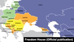 """US —Freedom House """"Nations in transit"""" report, 2018 map"""