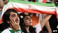 Іранська жінка вболіває за свою команду на матчі чемпіонату світу Португалія – Іран, Саранськ, Росія, 25 червня 2018 року