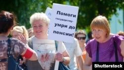 La unul din numeroasele proteste din Rusia împotriva noii Legi a pensiilor, Barnaul, iunie 2018