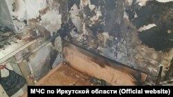 Последствия пожара в общежитии Иркутска