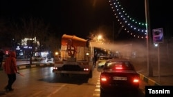 Sanitization of streets in Mashhad, Iran, for coronavirus. March 14, 2020.